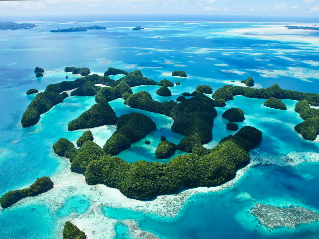 Beautiful aerial view of 70 islands of Palau