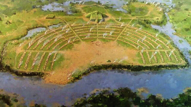 Artist reconstruction of Poverty Point, National Park Service