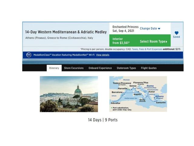 14-Day Mediterranean & Adriatic Medley Cruise: 4 - 18 September 2021