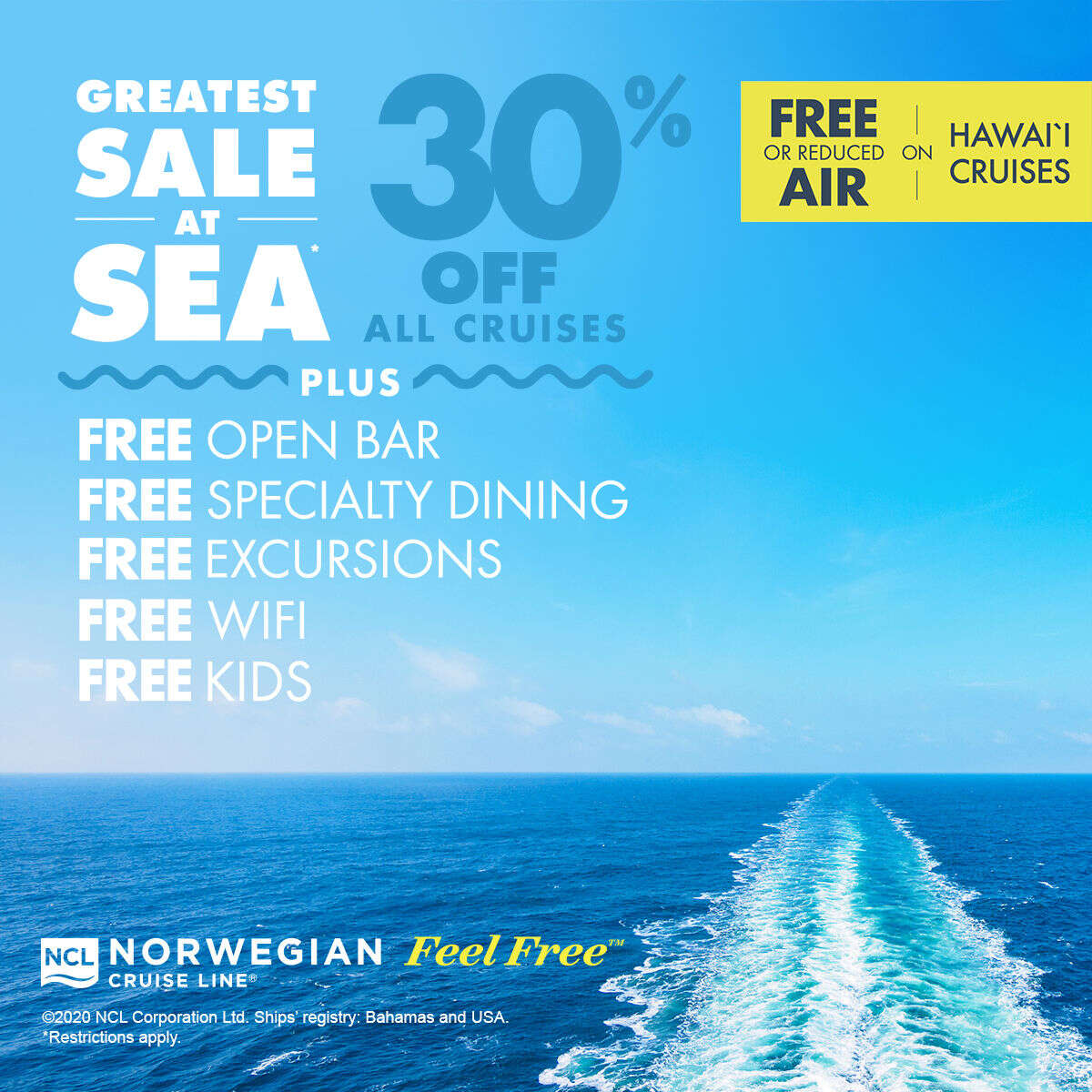 30% off all cruises with Norwegian Cruise Line's Greatest Sale at Sea