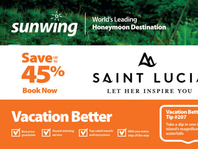 Save up to 45% at Saint Lucia Resorts with Sunwing