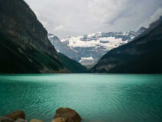 Lake Louise is a remarkable body of water among the Rocky Mountains.