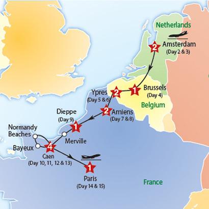 Canadian Battlefields Europe Tour 2018 Map