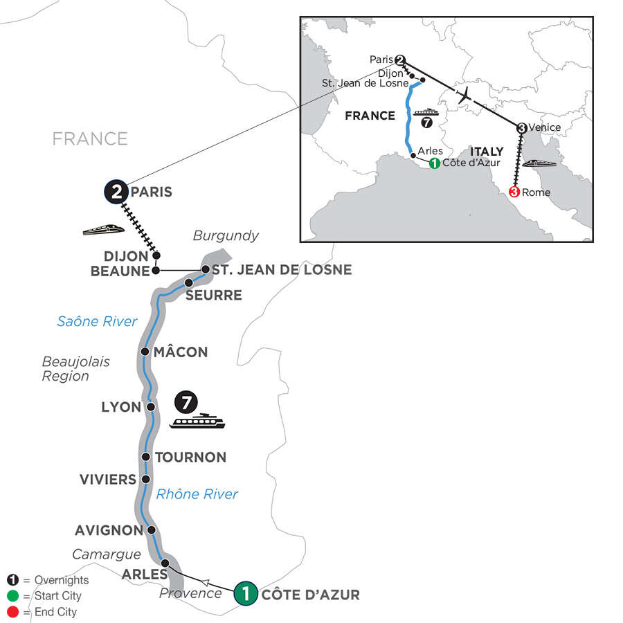 Burgundy & Provence with 3 Nights Venice & 3 Nights Rome – Southbound