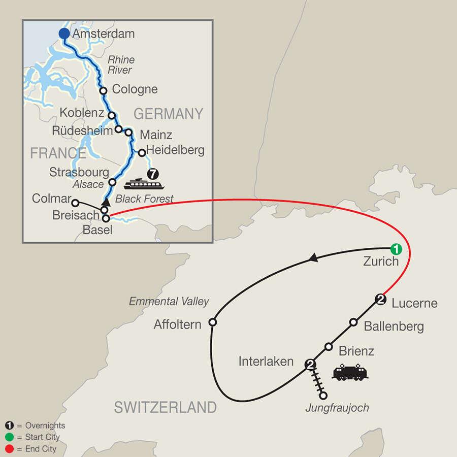 Top of Switzerland with Romantic Rhine